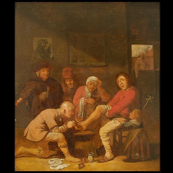 1011: Lancing a Boil  Flemish School, 1 6th C.  Oil