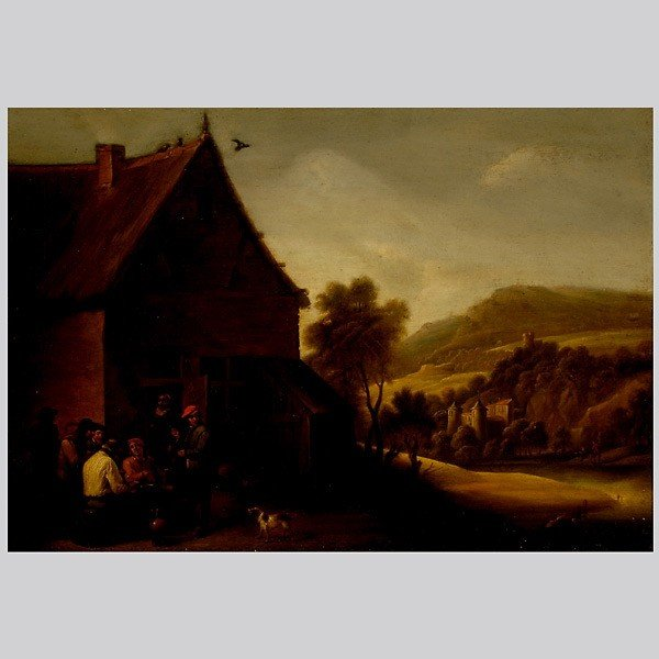 """1012: Manner of Teniers. """"Group of Boors"""" Flemish Oil"""