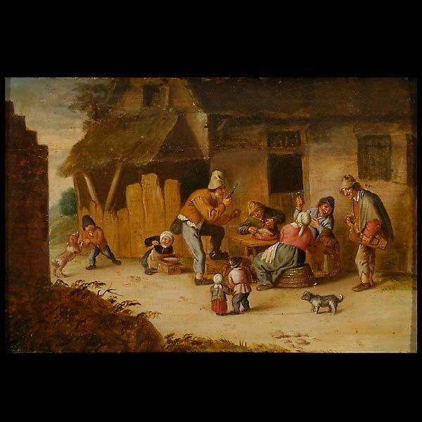 1014: Boors in a Courtyard Flemish School, 16th C. Oil