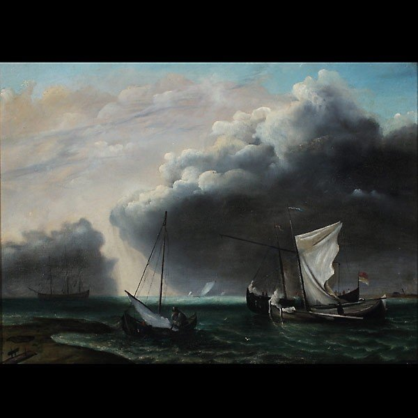"""1018: Dutch School. """"Before the Storm"""" Oil"""