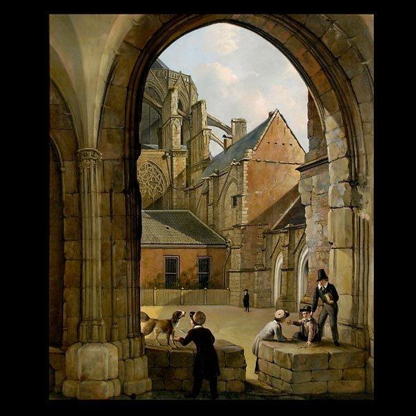 1019: Attrib. Van Straaten the Elder. Dutch painting, O