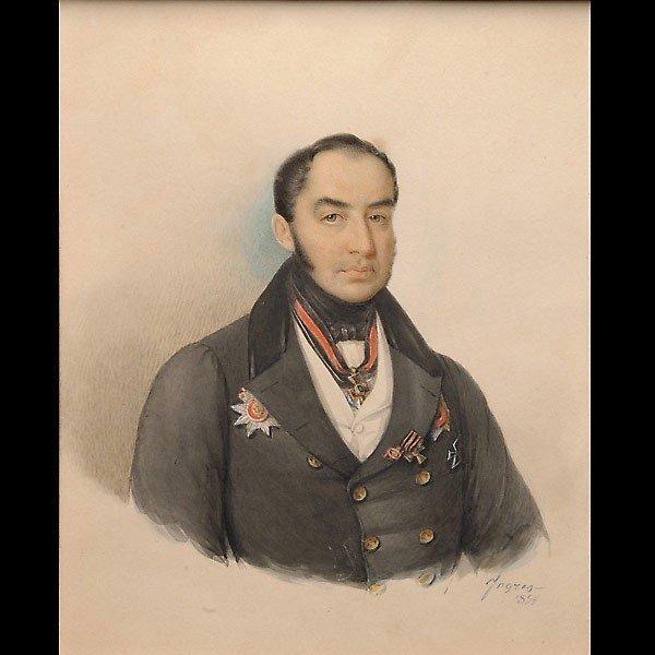 "1023: Ingres. ""Portrait of a Statesman"" Watercolor"