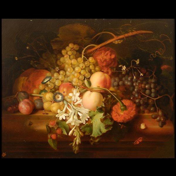 """1025: Attrib. Honorine Bouvret  """"Floral Still Life"""" Oil"""
