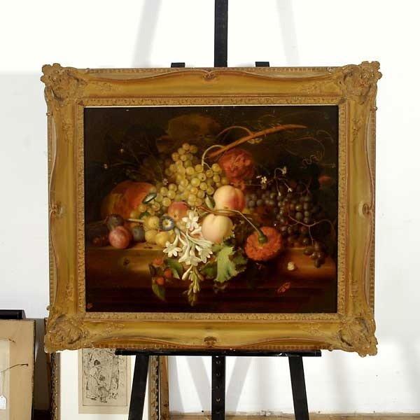 """1025: Attrib. Honorine Bouvret  """"Floral Still Life"""" Oil - 4"""