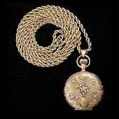 1470 ELGIN 14K TRICOLOR GOLD HUNTING CASE POCKET WATCH