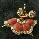 1489: VAN CLEEF & ARPELS DIAMOND, CORAL, 18K Y/G BROOCH