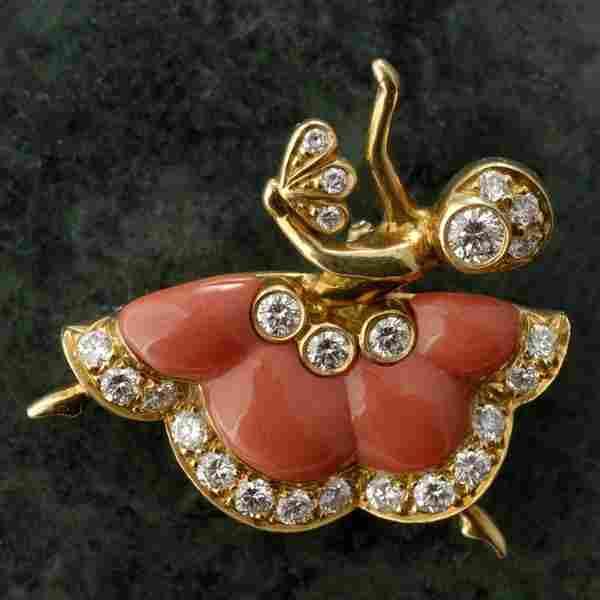 VAN CLEEF & ARPELS DIAMOND, CORAL, 18K Y/G BROOCH