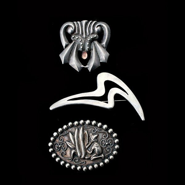 4: 3 MEXICAN OPAL, STERLING SILVER BROOCHES.