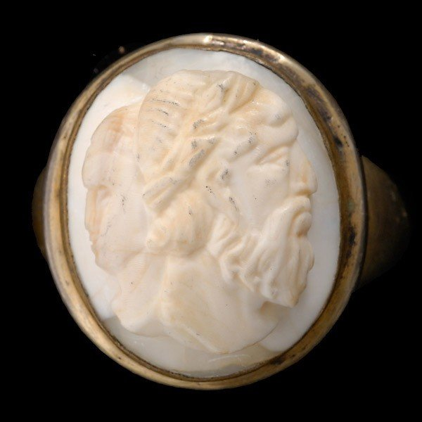 22: SHELL CAMEO, SILVER RING.