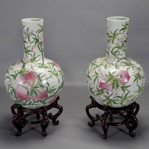 261: Two Massive Famille Rose Porcelain Longevity Vases