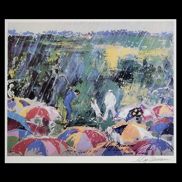 "748: LeRoy Neiman.  ""Arnie in the Rain"" Lithograph"