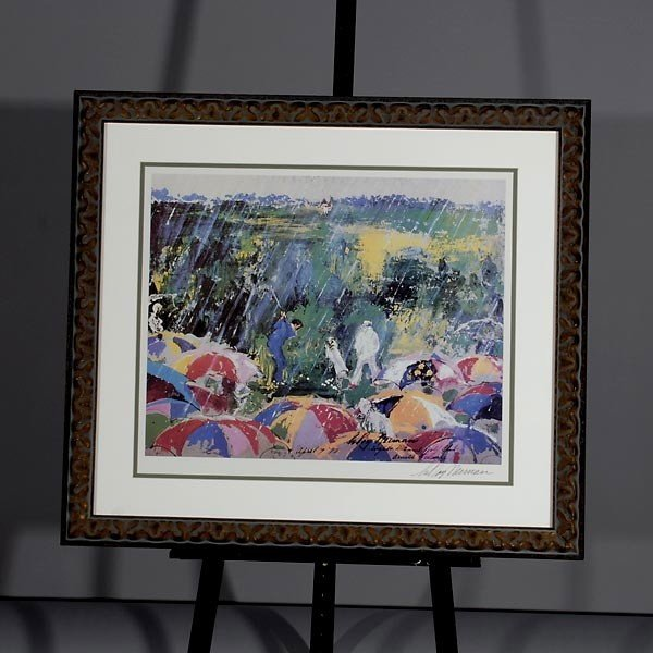 "748: LeRoy Neiman.  ""Arnie in the Rain"" Lithograph - 4"
