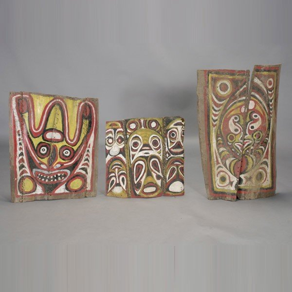 1002: Three Papua New Guinea painted bark house boards