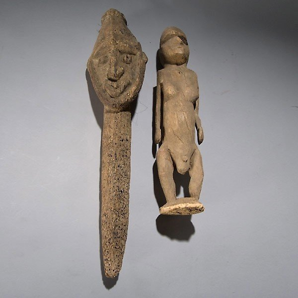 1019: Two Upper Sepik river carvings Korewari and Washk