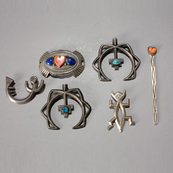 1017: four Navajo silver and stone items
