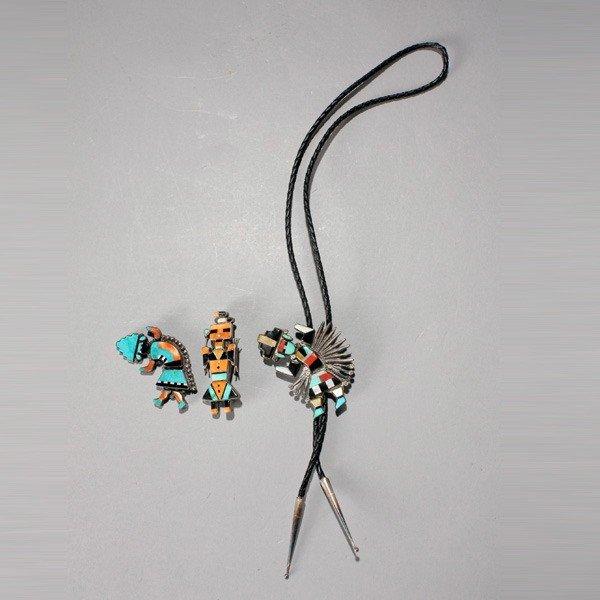 1018: Three Zuni silver and stone inlay pins bolo tie