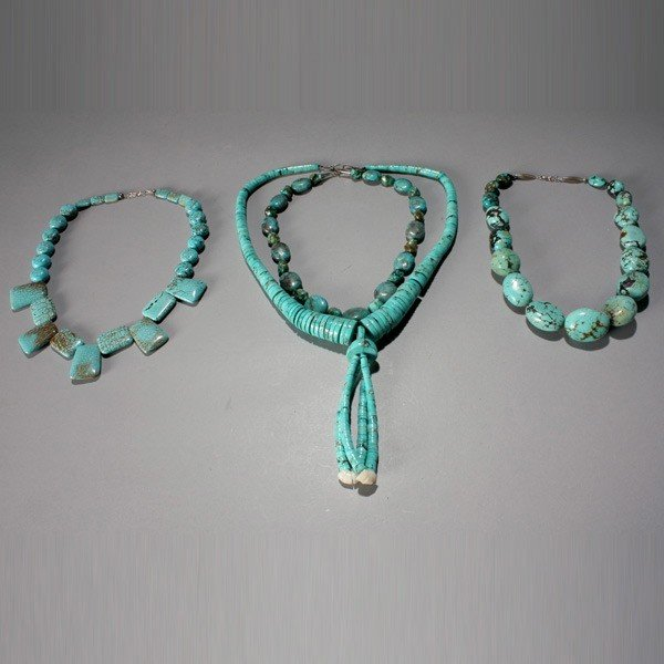1019: four turquoise ncklaces