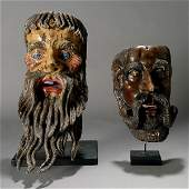 1192: 2 large mexican masks, beaded men