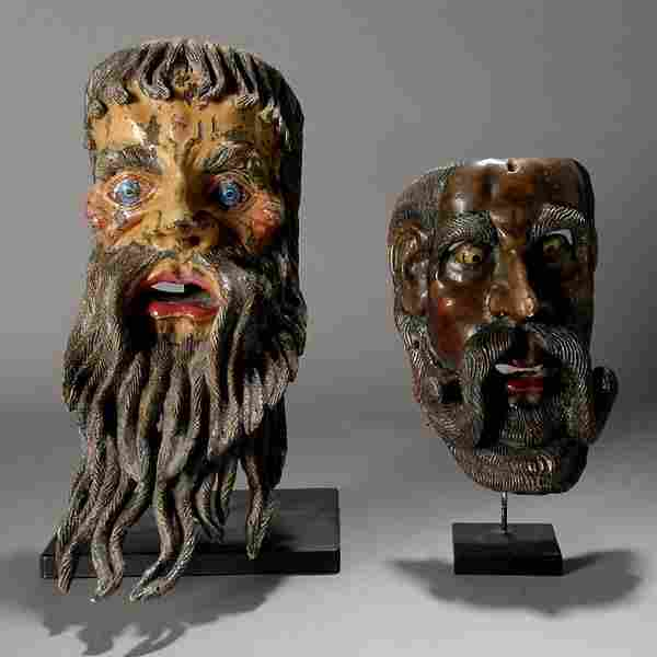 2 large mexican masks, beaded men