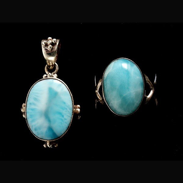 16: LARIMAR, STERLING SILVER JEWELRY SUITE.