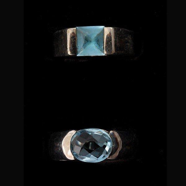 17: 2 AQUAMARINE, BLUE TOPAZ, 18K W/G, S. SILVER RINGS.