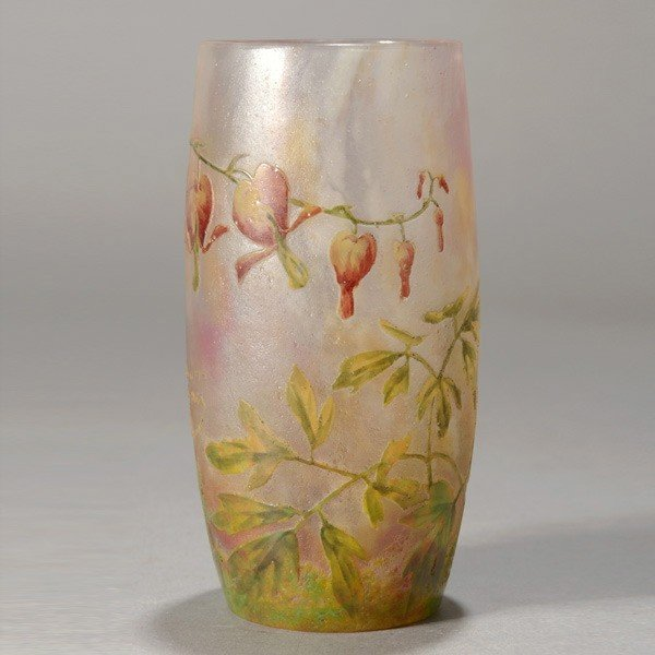 477: Daum Nancy Vase with Bleeding Heart Flowers