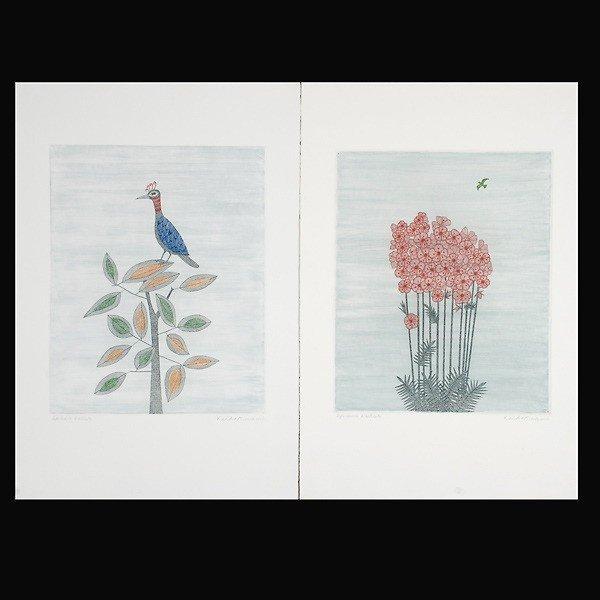 742: Keiko Minami.  2 Woodblock prints