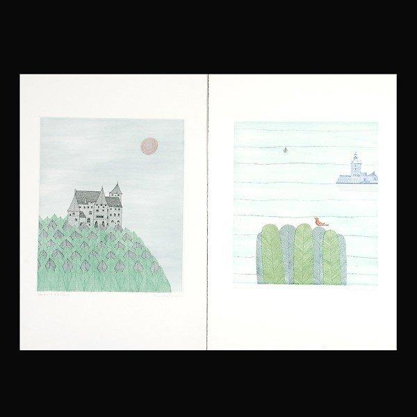 743: Keiko Minami.  2 Woodblock prints