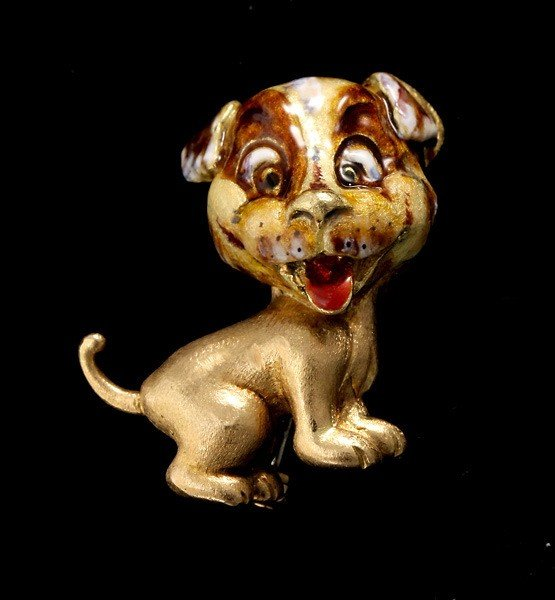 14: ENAMEL, 18K YELLOW GOLD DOG BROOCH.