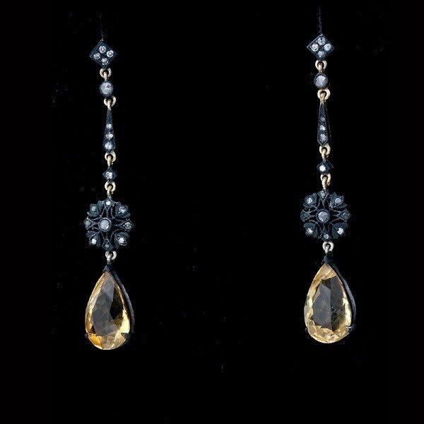 17: CITRINE, DIAMOND, 14K Y/G, SILVER, GILT EARRINGS.