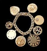 44 MULTISTONE DIAMOND 14K YG CHARM BRACELET