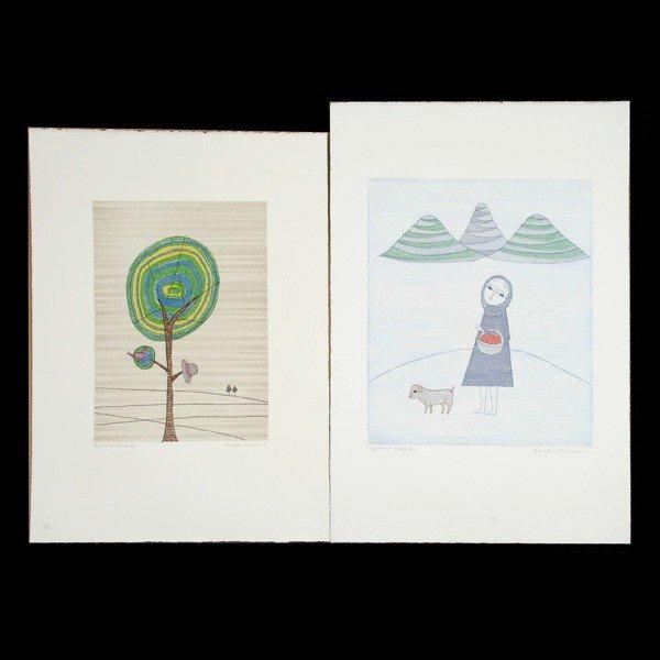 858: Keiko Minami.  2 Woodblock prints
