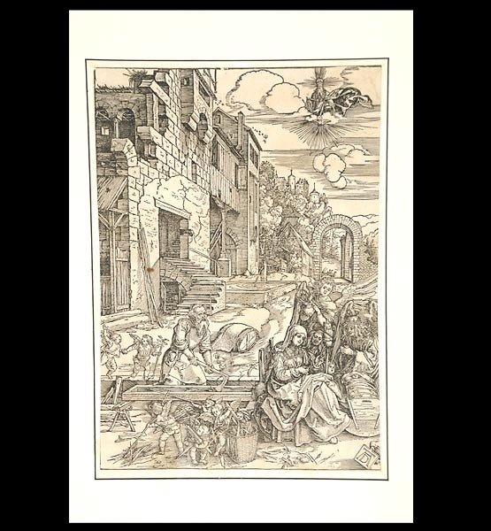"1000: Albrecht Durer. ""The Holy Family in Egypt"" Woodcu"