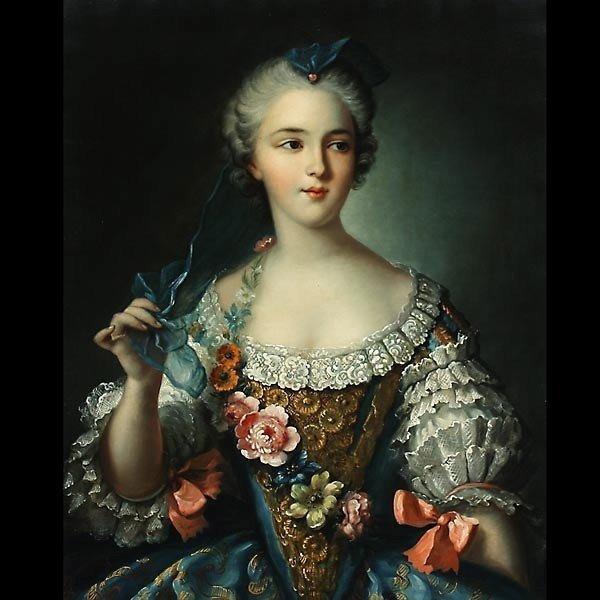 """1004: copy of Nattier. """"Portrait of Sophie de France"""" O"""