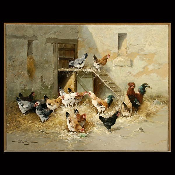 1013: Jules Bahieu Rooster & Hens Oil