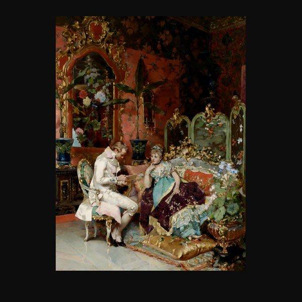 1015: C. Corradini Italian European genre painting art