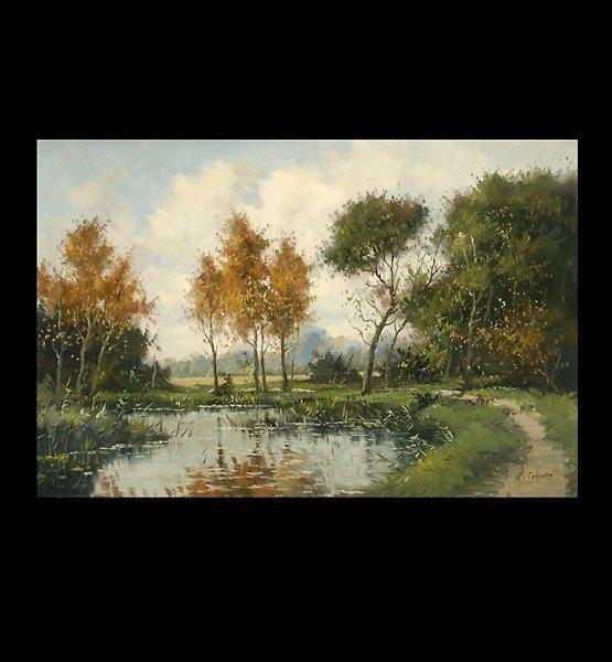 "1017: Henk Van Leeuwen. ""Path by the Lake"" Oil"