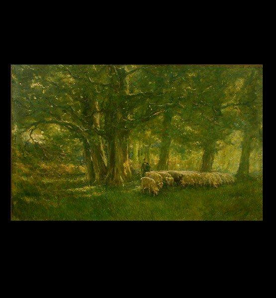 "1018: French School ""Shepherd and Flock"" Oil"