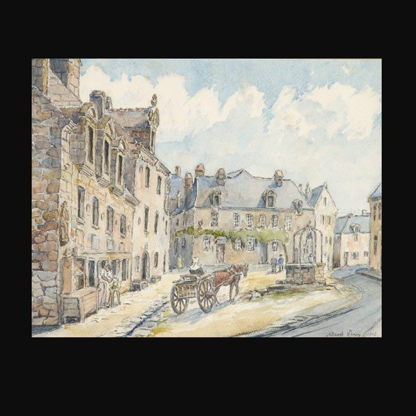 1022: Benois french village russian watercolor art