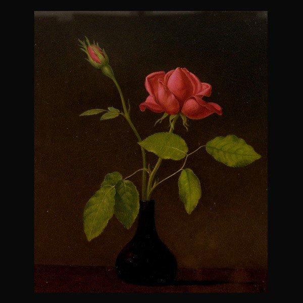 1057: Martin Johnson Heade Red Rose oil on board