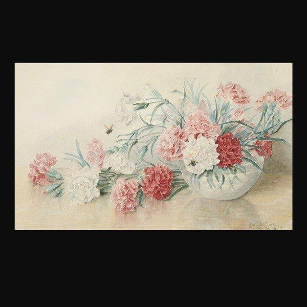 1058: Paul De Longpre American art watercolor