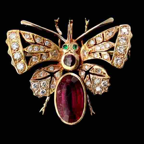1387: TOURMALINE, EMERALD, DIAMOND, 14K Y/G BUG BROOCH.