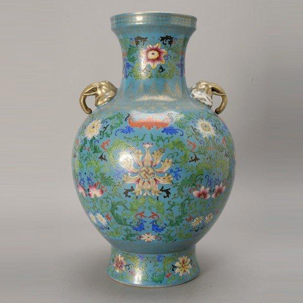 278: Famille Rose-Enameled Porcelain Vase, Qianlong Mar
