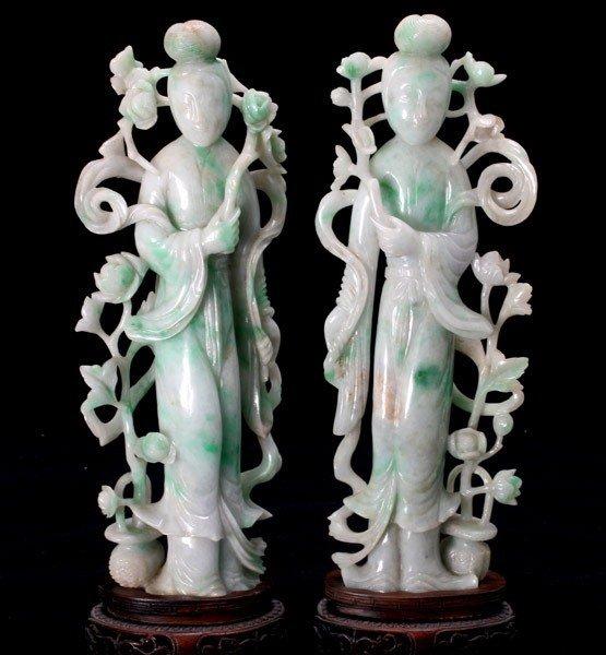 8001: Two Jadeite Carvings of Beauties