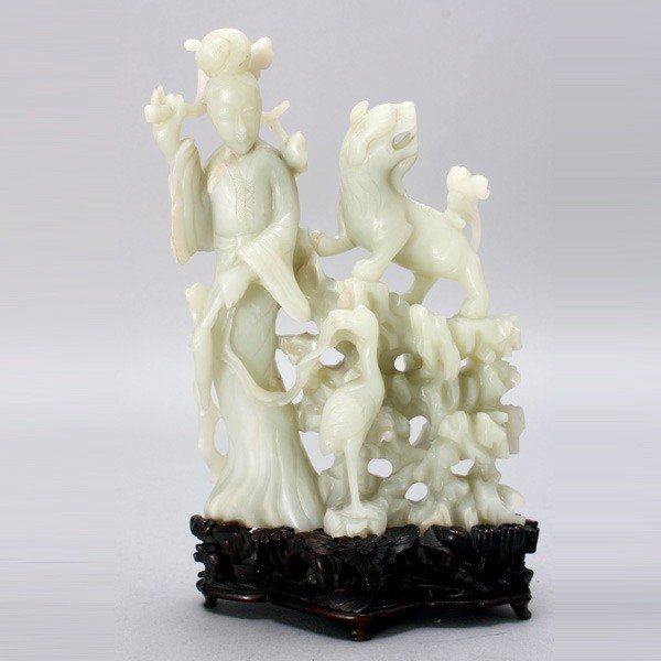 8002: A Fine Jade Carving of a Female Immortal & Animal