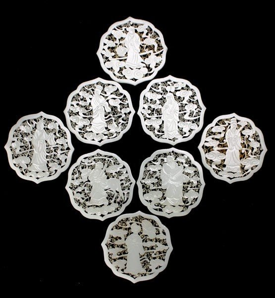 8007: Eight Reticulated White Jade Plaques of Immortals