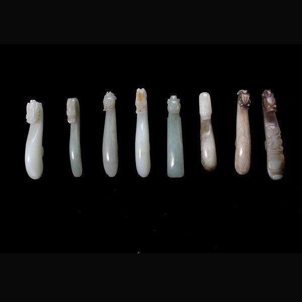 8020: A Group of Eight Jade Belt Hooks