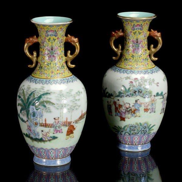 8302: Pair of Famille Rose Porcelain Vases, Jiaqing Mar