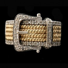 DIAMOND, 14K GOLD BUCKLE RING.
