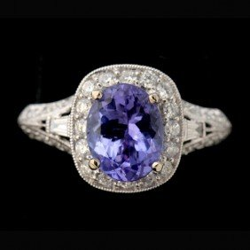 TANZANITE, DIAMOND, 18K WHITE GOLD RING.